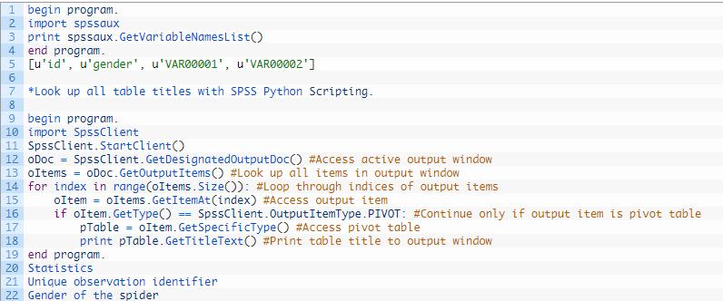 زبان برنامه نویسی پایتون در SPSS